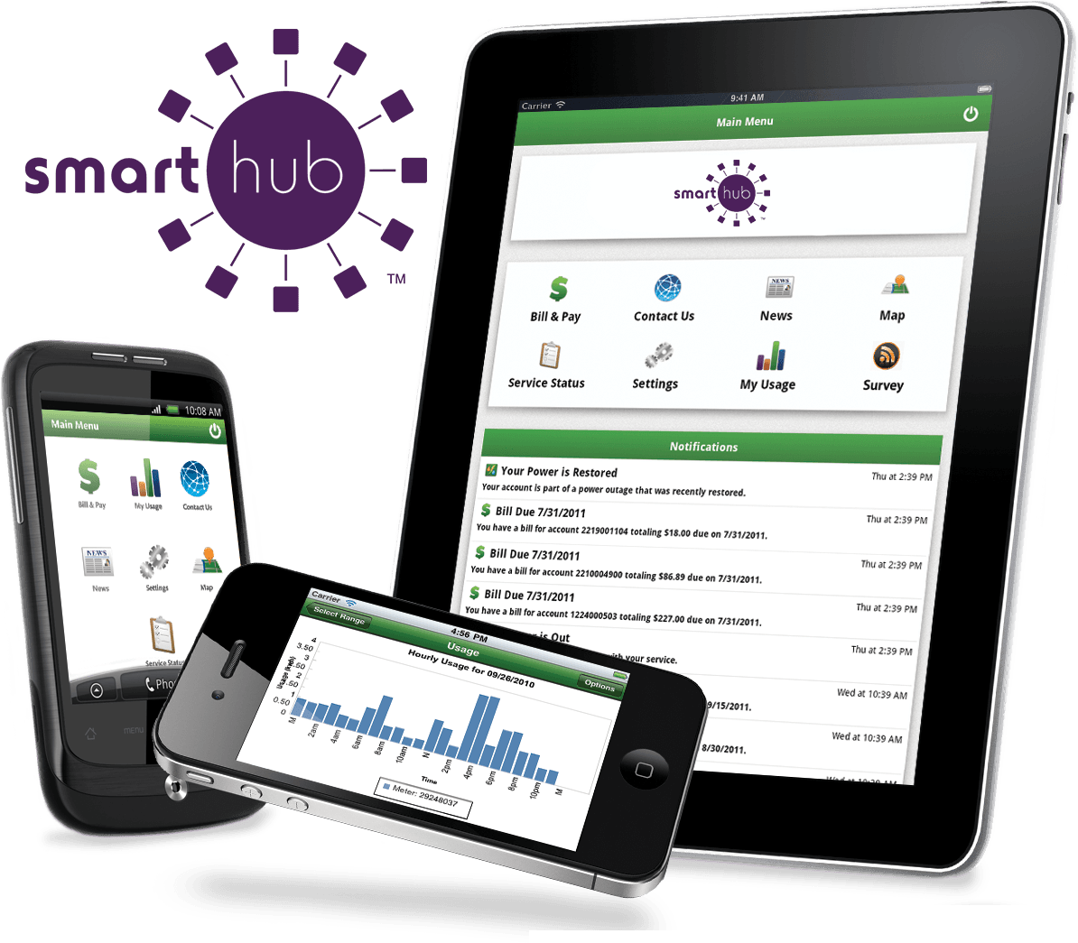 Devices on the SmartHub app